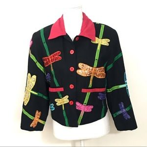 Vintage Anage Beads Sequins Dragonfly Jacket Small